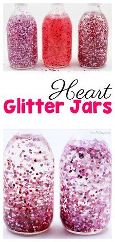 How to Make a Glitter Jar for Valentine's Day - What an awesome discovery bottle idea to try with the kids! #PreschoolActivities #FunADay #ValentinesDay #Sensory #GlitterJar #PreschoolTeachers #EarlyChildhoodEducation #ECE