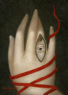'Bound Hand with Lover's Eye' (2014) by by Philippine-born American self taught painter Fatima Ronquillo (b.1976). Oil on panel, 7 x 5 in. via the artist's site