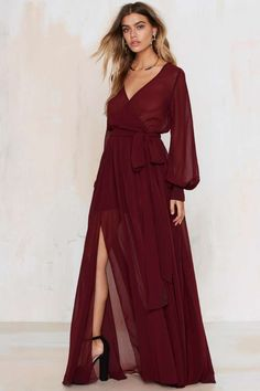 Go Your Own Way Chiffon Dress - Oxblood - Best Sellers | Back In Stock | Midi + Maxi | Dresses