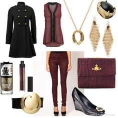 Burgundy, gold and black. Love this!