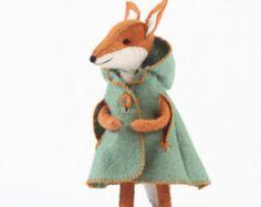 Charlotte Fox's cloak PDF pattern, felt cloak pattern, miniature clothing, cape pattern, doll cloak pattern, DIY felt, DIY doll clothing
