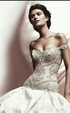 Ines Di Santo Italian silk taffeta strapless bridal gown with transparent beaded corset bodice and full skirt with dramatic pickups. (Spring/Summer 2012)