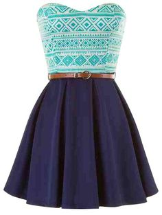 blue belted strapless tribal print skater dress | USTrendy www.ustrendy.com #ustrendy