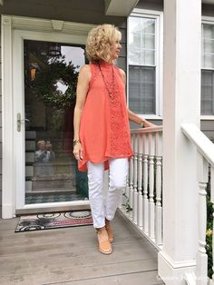 Fashion over white and coral fall outfits, hot weather outfits, black Coral Fashion, 60 Fashion, Fashion For Women Over 40, Women's Fashion Dresses, Autumn Fashion, Spring Fashion, Fashion Women, Holiday Fashion, Jeans Fashion