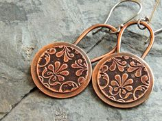 Metalsmith Etched Copper Earrings