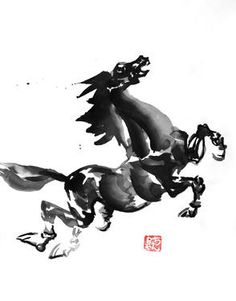 Original Horse Painting by Pechane Sumie Sumi E Painting, Gesture Drawing, Ink Illustrations, Paper Art, Saatchi Art, Original Paintings, Horses, Watercolor, Drawings