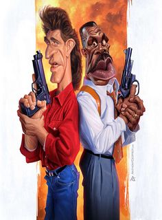 Lethal Weapon Team Danny Glover and Mel Gibson Caricature by anthony Geoffroy Cartoon Faces, Funny Faces, Cartoon Characters, Funny Caricatures, Celebrity Caricatures, Celebrity Drawings, Caricature Artist, Caricature Drawing, Drawing Art