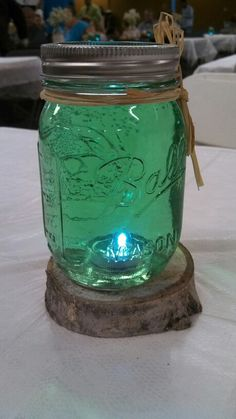 Masson jar center piece with LED lights