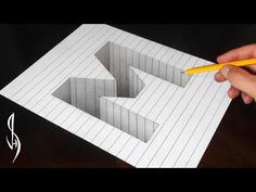 """(55) Drawing Letter little """"a"""" Hole Illusion - 3D Trick Art on Line Paper with Pencil - Vamos - YouTube"""