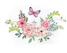 Art Floral, Floral Design, Watercolor Flowers, Watercolor Paintings, Flower Svg, Clip Art, Flower Backgrounds, Cute Drawings, Decoupage