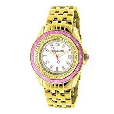 LUXURMAN Womens Diamond Watch 025ct Yellow Gold Pltd * Click image to review more details. (Note:Amazon affiliate link)