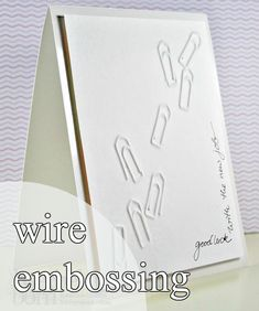 Wire embossing embossen with wire Dawn Dish Soap, Card Making Techniques, Embossing Folder, Tricks, Wire Wrapping, Cardmaking, Projects To Try, Greeting Cards, Paper Crafts