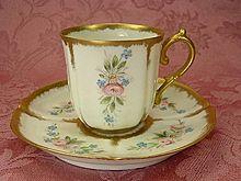 Petite Roses Limoges Porcelain Demitasse Cup & Saucer, Dated 1892