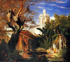 Algérie - Peintre Français,  CharlesThéodore Frère (1814-1888), Huile sur toile 1840, Titre :  Les jardins du Palais du Dey à Alger .