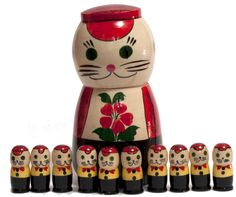 Chatons et chat vintage russe Matryoshka Doll