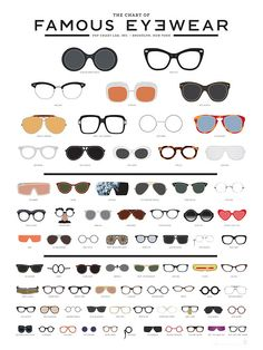 popchartlab: A meticulously illustrated eye chart of famous eyewear featuring 73 iconic frames from history, film, music, fashion and culture.Get The Chart of Famous Eyewear now! Fashion Infographic, Together Fashion, Lunette Style, Eye Chart, Fashion Vocabulary, Cheap Ray Ban Sunglasses, Sunglasses Outlet, Oakley Sunglasses, Sunglasses Online