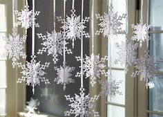 hanging snowflakes (do with glittery stars)