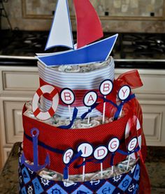 ahoy it's a boy diaper cake. nautical
