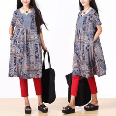 Ethnic retro blue print dress / personalized stitching by dreamyil, $108.00