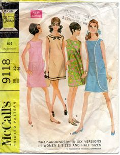 1960s McCalls 9118 Three Armhole Wrap Dress Pattern 6 Versions sundress womens vintage sewing pattern by mbchills