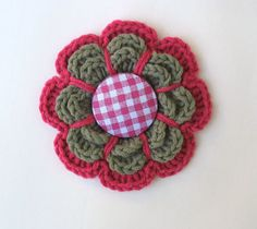 Crocheted Flower Brooch  Silver Grey and Hot Pink by VeraJayne, $12.00