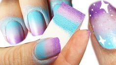 Creative DIY Nail Art Designs That Are Actually Easy to Do --> Sponge galaxy nail art