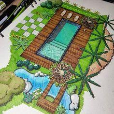 Garden Design Layout - New ideas Sketchbook Architecture, Architecture Concept Drawings, Landscape Architecture Drawing, Landscape Design Plans, Landscape Concept, Landscape Drawings, House Landscape, Interior Design Sketches, Drawing Interior