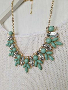 Fresh Mint Green Crystal Statement Necklace by CostumeJewelryStore, $9.50