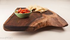 Footed Serving Tray in Live Edge Black by brandMOJOinteriors
