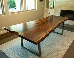 Live Edge Redwood softwood Dining Table or Large Desk by MezWorks