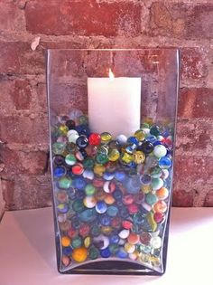 inspiration and realisation: marbles candle holder, simple Cute Crafts, Diy And Crafts, Mason Jar Centerpieces, Centerpiece Ideas, Marble Candle, Candle In The Wind, Diy Projects To Try, Project Ideas, Diy Candles