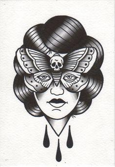 #girl #eye #butterfly #black #dark #tattoo #oldschool #traditional #patkarpeza