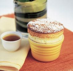 Passion Fruit with soufflé with caramelised pear-passion sauce