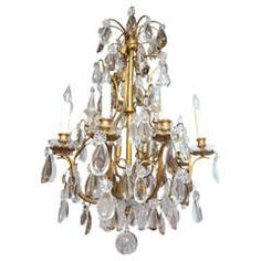 19th Century French Dore Bronze Crystal Chandelier