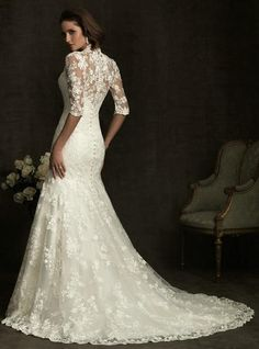 This lace wedding dress is featured as the v-neck design and the overall lace fabric. Description from oyeahbridal.com. I searched for this on bing.com/images