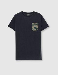 Pull&Bear - hombre - novedades - ropa - camiseta camuflaje bolsillo - negro - 09244534-I2016