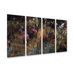 Found it at Wayfair - 'Blue Grass and Wildflowers' by Ruth Palmer 4 Piece Original Painting on Metal Plaque Set Metal Wall Sculpture, Wall Sculptures, Metal Wall Art, Metal Plaque, Visual Effects, Metallic Paint, Large Wall Art, Hanging Lights, Wildflowers