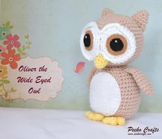 Say hello to Oliver. Oliver is an owl, and a pretty darn cute one at that. He's easy to crochet and can be made a couple of different ways. If you want a bigger Oliver all you need to do is use a thicker yarn. If you want an itty bitty Oliver, go grab some DK or 4 ply!There are instructions for both felt and crochet features, as well as a template and a mini tutorial on how to make the felt features *and *there are lots of photos throughout the whole pattern.Skills Required: Basic amigurumi…