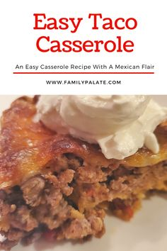 When our schedules are busy, sometimes you just want to make an easy casserole dish that pleases everyone in the family. This Easy Taco Bake Casserole, does just that! We all love tacos, but each person in my family, l. Coslaw Recipes, Easy Steak Recipes, Popular Recipes, Mexican Food Recipes, Baking Recipes, Dessert Recipes, Drink Recipes, Dinner Recipes, Easy Taco Bake