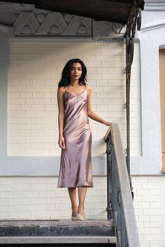 Silk bias dress Silk slip dress pink gold Pure silk camisole Alkalmi Ruhák,  Selyem b1ed664b087