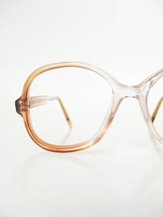 Vintage Round Eyeglasses 1970s P3 Eyeglass Frames Glasses Womens Ladies 70s Amber Fade Seventies Retro Deadstock Optical Frames