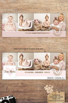 Clean, chic timeline cover template for your studio's Facebook page. #facebook #photography #marketing