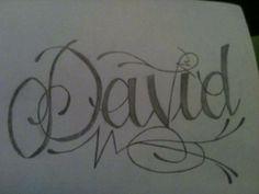 Dibujo hecho a lápiz - Tatuaje con el nombre de David