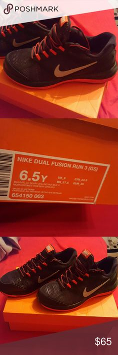 Brand New Nike Dual Fusion Sneakers Brand New Nike Dual Fusion Sneakers. Red n black.  Size 6.5Y (boys) Non smoking home Nike Shoes Sneakers