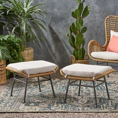 Shop Montana Outdoor Modern Boho Wicker Ottoman (Set of by Christopher Knight Home - On Sale - Overstock - 28531049 Outdoor Furniture Inspiration, Best Outdoor Furniture, Wicker Ottoman, Living Room Bookcase, Outdoor Patio Designs, Pool Furniture, Modern Boho, Christopher Knight, Montana