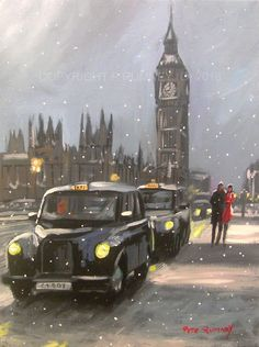 PETE RUMNEY FINE ART BUY ORIGINAL ACRYLIC OIL PAINTING LONDON SNOW TAXI BIG BEN in Art, Direct from the Artist, Paintings | eBay