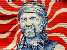 The background of this portrait is a nice example of SIMILARITY. The repetition of the red wavy strokes allows the image of Willie Nelson to be the main focus.