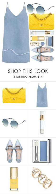 """Chic"" by smartbuyglasses-uk ❤ liked on Polyvore featuring Chanel, M.i.h Jeans, Marc Jacobs, Sisley, Miu Miu, Clinique, Dolce&Gabbana, yellow and Blue"