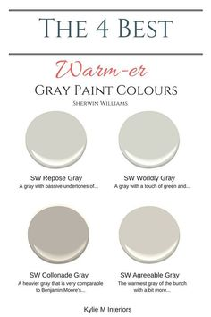 The best warm gray paint colours that are almost greige, Sherwin Williams. Color Consultant Kylie M Interiors E-Design and Decor Paint Colors For Home, Pottery Barn Paint Colors, Farmhouse Paint Colors, Gray Bedroom Paint, Grey Interior Paint, Grey Hallway Paint, Grey Living Room Paint, Beige Carpet Living Room, Bedroom Paint Colours