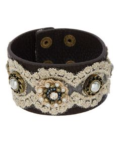 Look at this #zulilyfind! Dark Brown & Cream Lace Faux Leather Bracelet #zulilyfinds